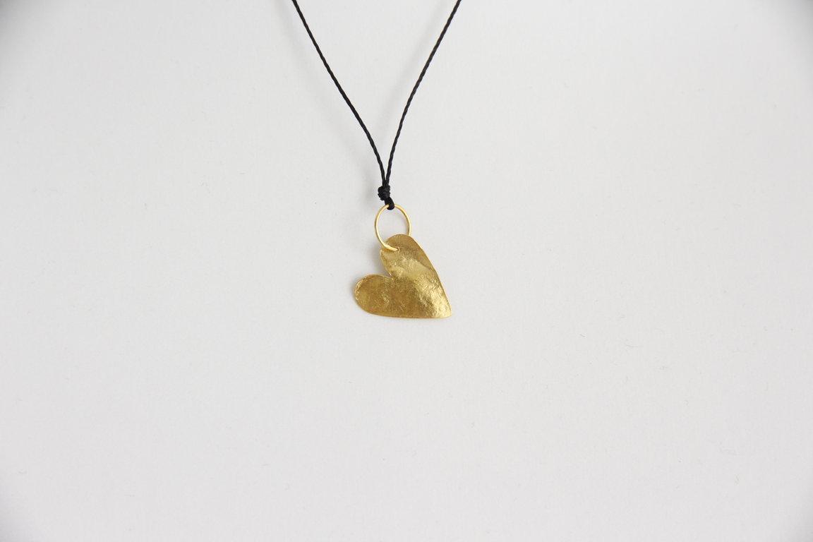 Herz aus Gelbgold 18kt Gross mit Verschluss Silbervergoldet